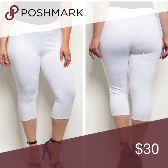 1c29d23b507 Just In🌸PLUS🌸White Capri Pants Plus size elastic waistband capri ponte  pants. Fabric Content  67% VISCOSE 28% NYLON 5% SPANDEX Pants Capris