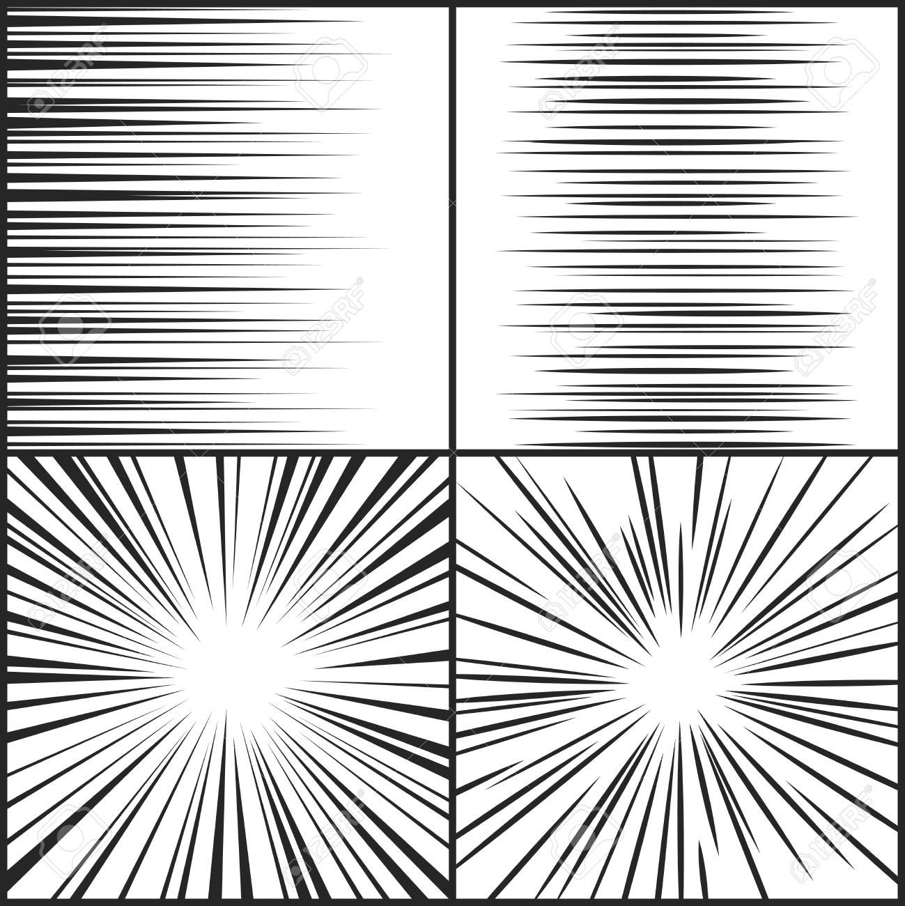 Speed Lines Motion Strip Manga Comic Horizontal And Radial Effect Vector Set Radial Abstract Speed Line From Motion Illustration Of Trame Manga Manga Dessin
