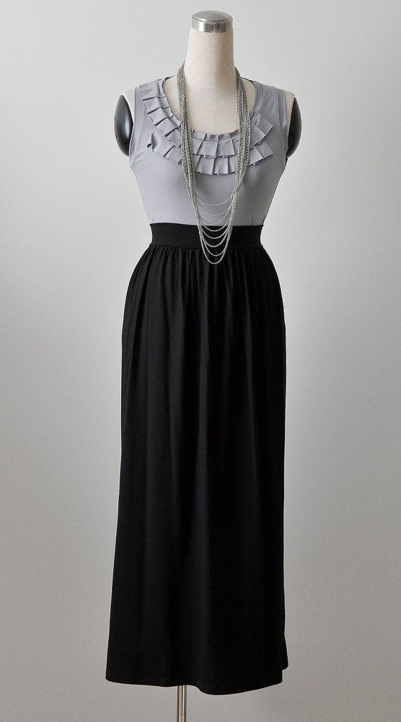 Long Maxi Skirt, High Waisted Maxi Skirt, Jersey Skirt, Black Maxi Skirt, Pleated / Shirred Waist INSPIRATION