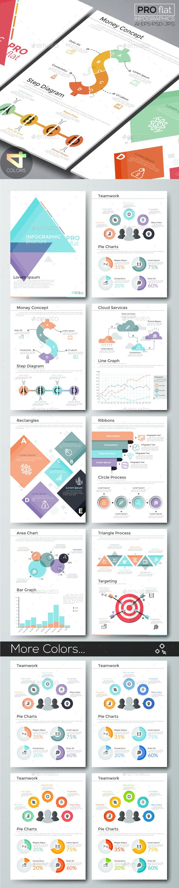 Pro Flat Infographic Brochure Versions Infographic - Infographic brochure template