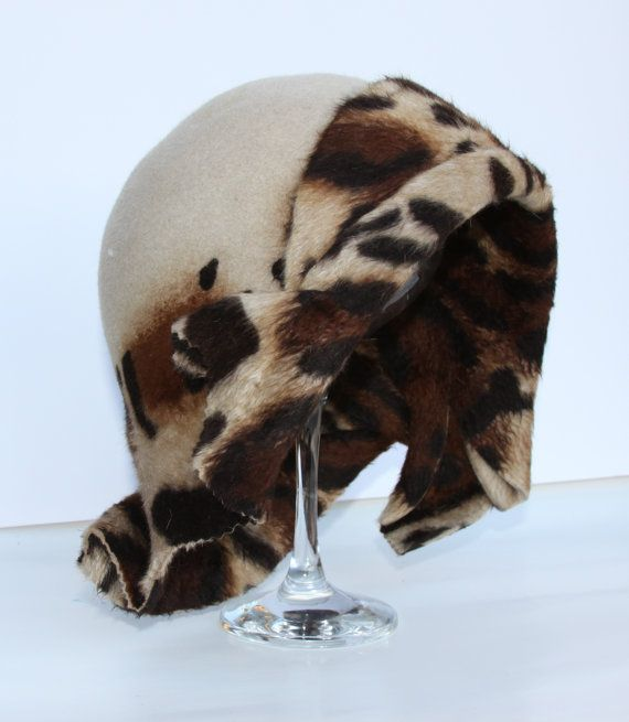 leopard print beige brown hat cloche  Hat luxe by perhapsTurquoise, $99.00  too stinkin' cute!