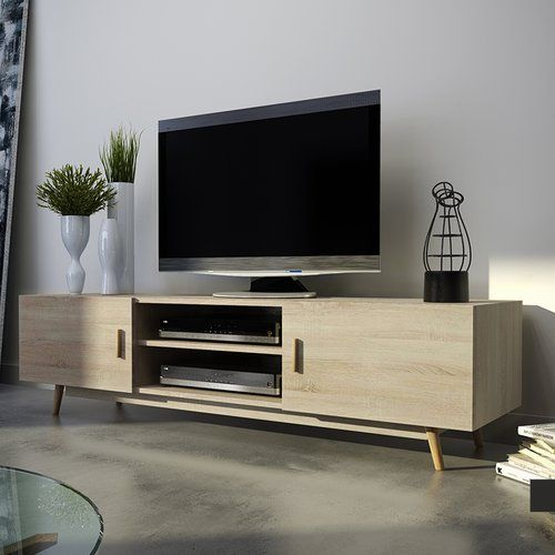 Rivano Ii Tv Stand For Tvs Up To 55 Selsey Living Finish Matt Sonoma Oak Oak Tv Unit Furniture Wooden Tv Stands