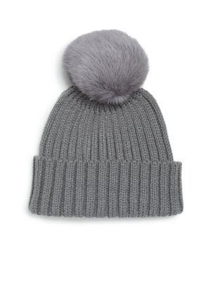 638ac5140b3c96 ADRIENNE LANDAU Rib-Knit Rabbit Fur Pom-Pom Hat. #adriennelandau #hat