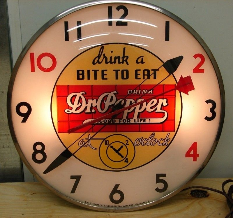 Light Up Kitchen Signs: Old 40s Dr. Pepper Soda Light Up Advertising Clock Sign