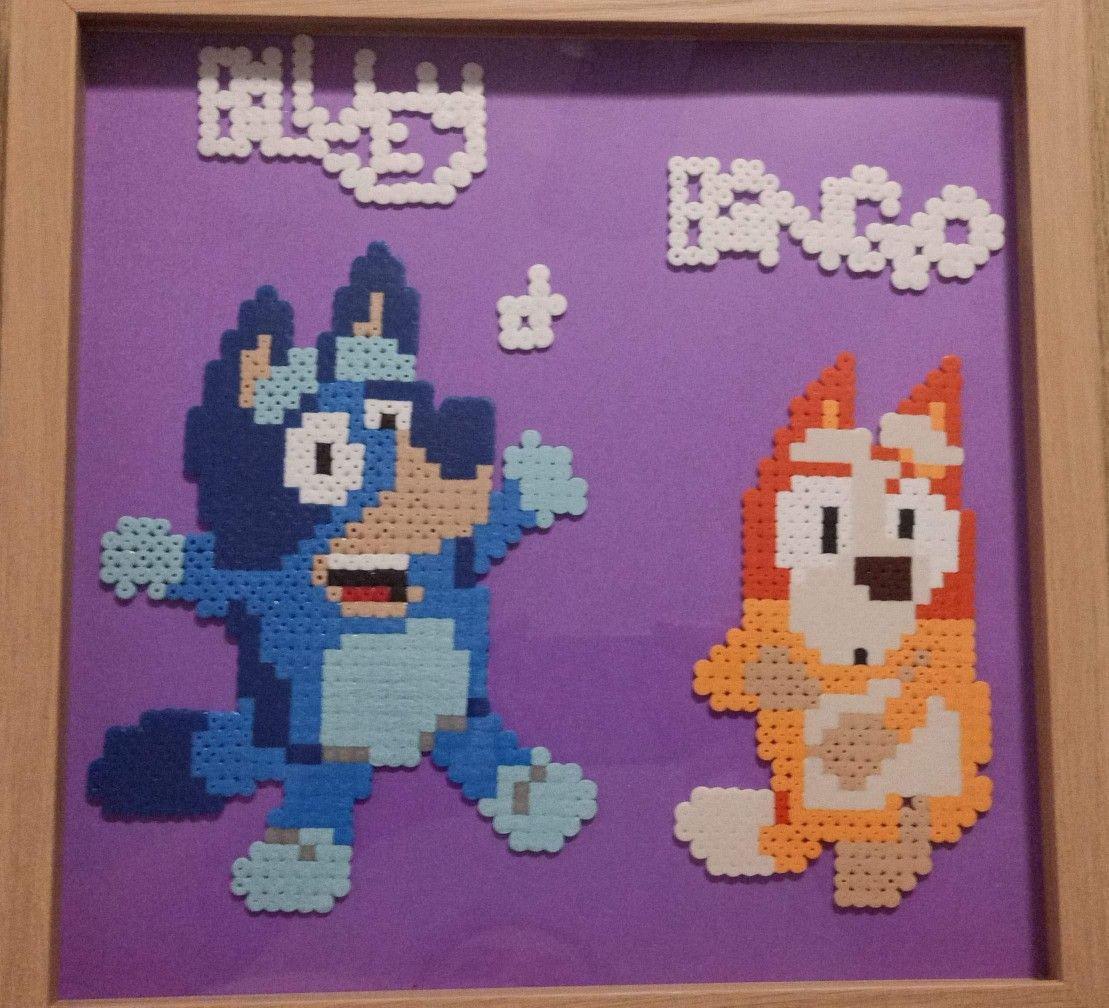 Bluey And Bingo Hama Beads Patterns Perler Bead Patterns Banana Crafts