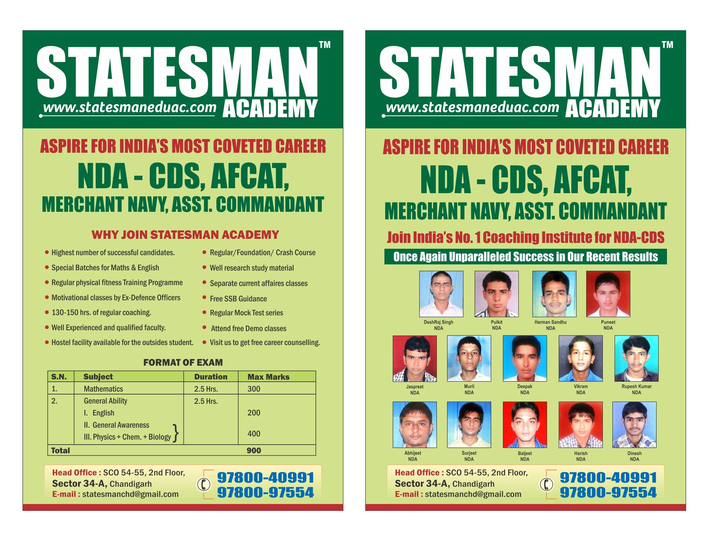 Statesman Academy-NDA Coaching in Chandigarh