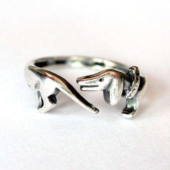 Silver Dachshund Ring Wiener Dog Ring Sausage Dog Ring by mrd74, $38.00