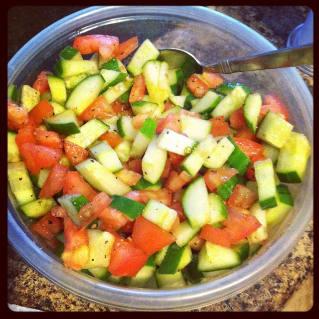 Cucumber Salad English Cucumbers Tomatoes Balsamic Vinegar Salt And Pepper We Went To Market On The Move This Mornin Salad Soup And Salad Vegetable Salad