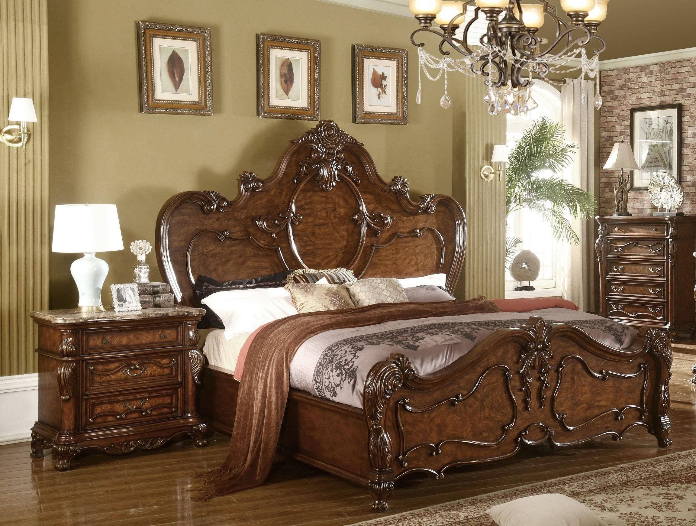 King Size Bedroom Set for Sale Mcferran B5 Traditional Cherry