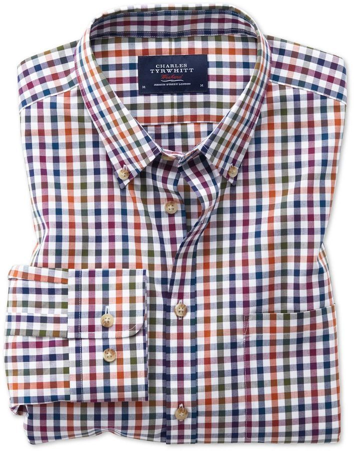 e1f6366c4f0 Charles Tyrwhitt Classic Fit Button-Down Non-Iron Poplin Berry Multi  Gingham Cotton Casual Shirt Single Cuff Size Large