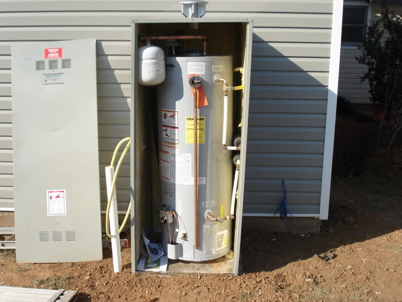 Bust Of Outdoor Water Heater Enclosure To Protect And
