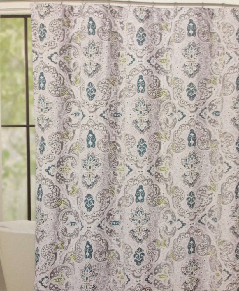 Cynthia Rowley Mica Paisley Fabric Shower Curtain Grey Teal Green Last 1 CynthiaRowley Moroccan