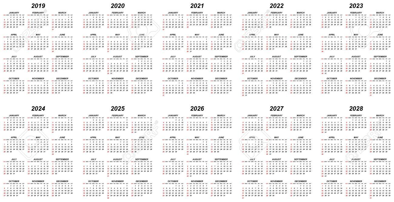 Ten Years Simple Editable Vector Calendars For Year 2019 2020 2021 2022 2023 2024 2025 2026 2027 2028 Sundays In Red Social Media Logos Media Logo Vector Logo