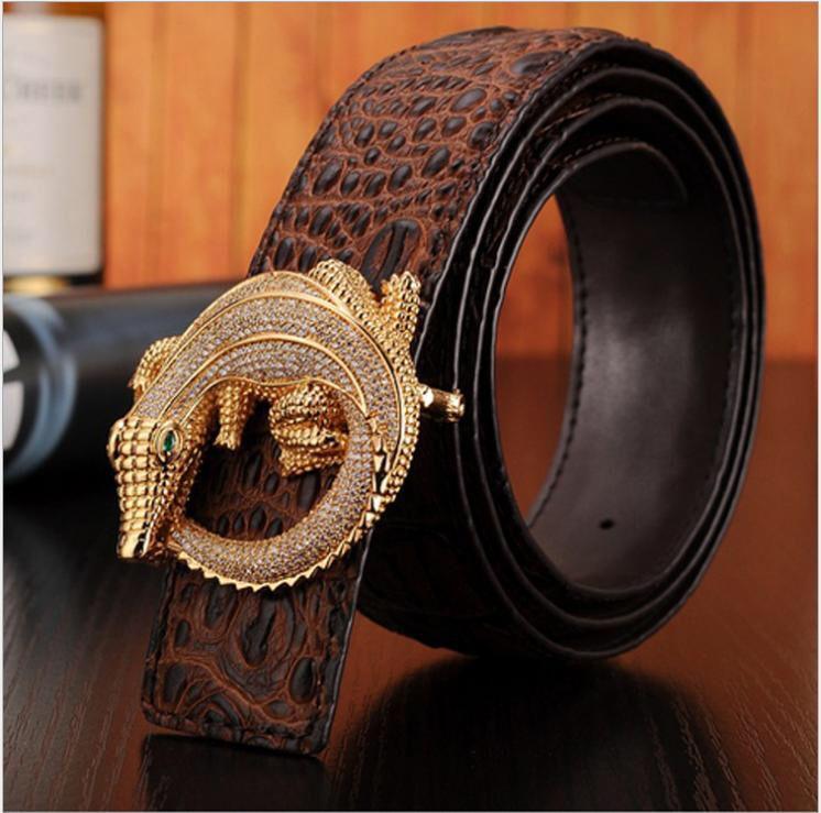 2015 Cinto genuino cinturones de cuero de marca para hombre para hombre  cinturones de lujo cinturones de diseño hombres de cocodrilo de la alta  calidad de ... 2b66527452e1