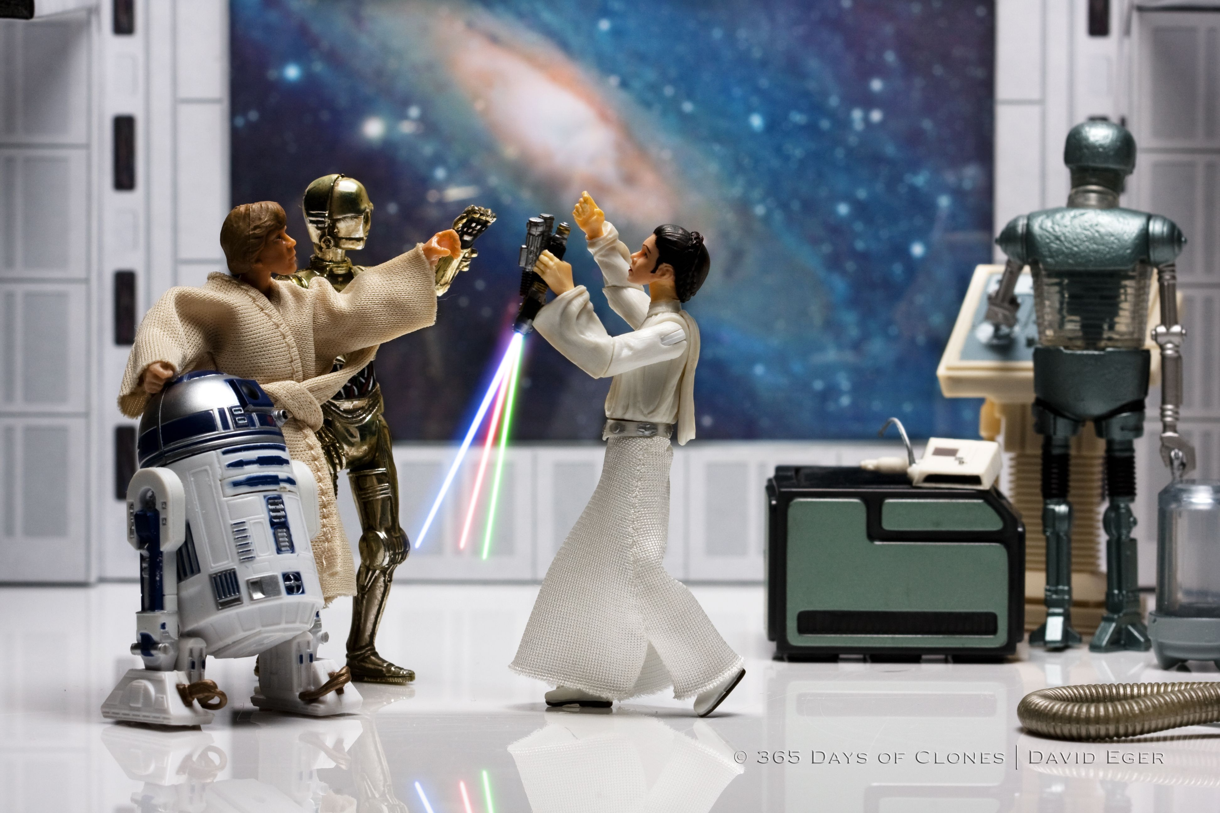 """The eighth photograph in the series is entitled """"Oath of the Skywalkers"""" and is based upon Jacques-Louis David's Oath of the Horatii.  It has been argued by many art historians that David's Oath of the Horatii is the most well known Neoclassic painting."""