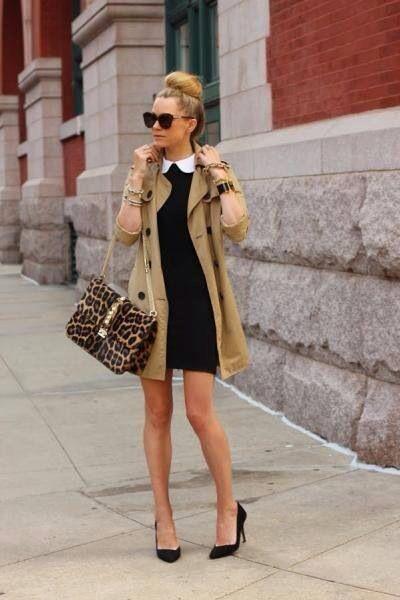 Vestido negro y tacones beige