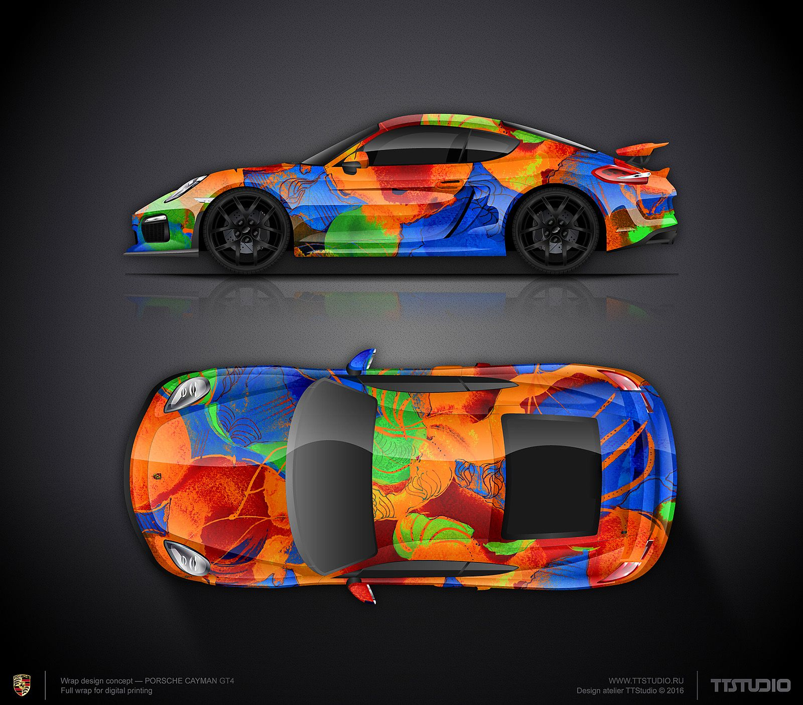 Art Car Wrap Design Concept #38 For Porsche Cayman GT4 For