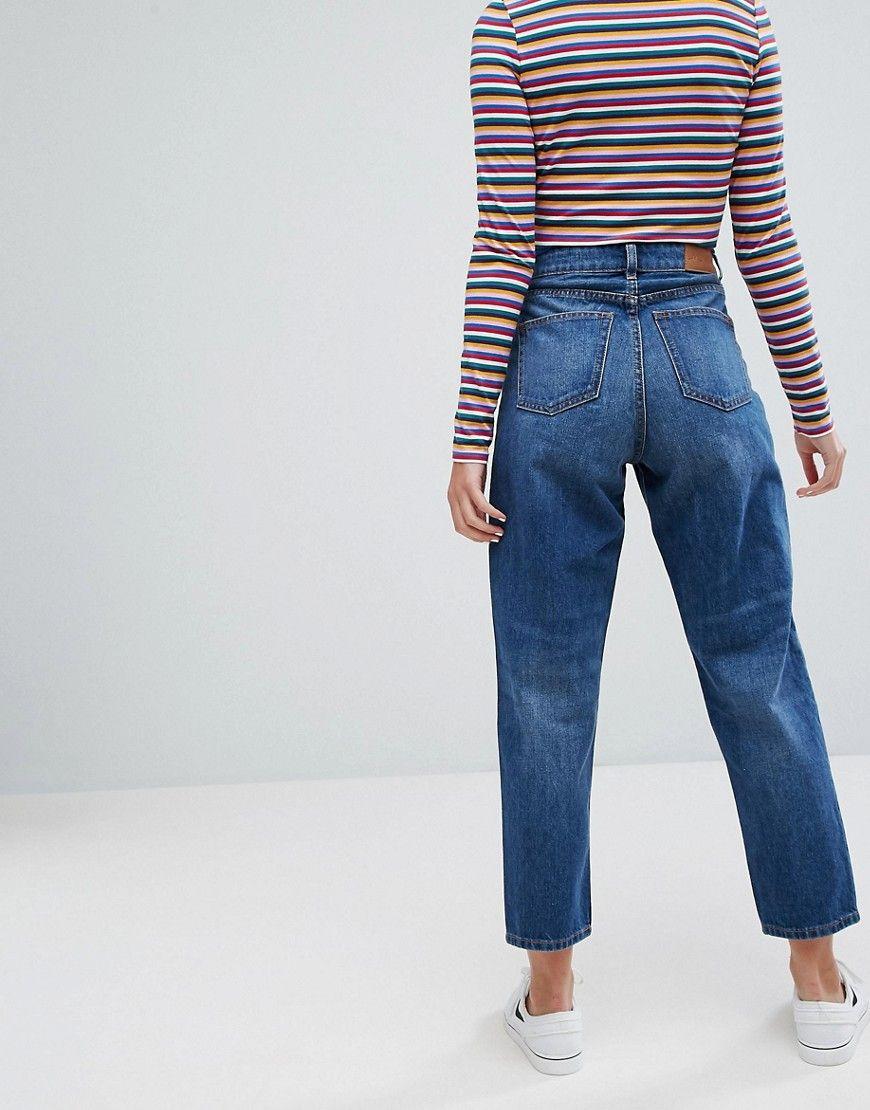 Taiki Haut Jeans Maman Taille Haute - Monki Bleu Clair gM0skZhA