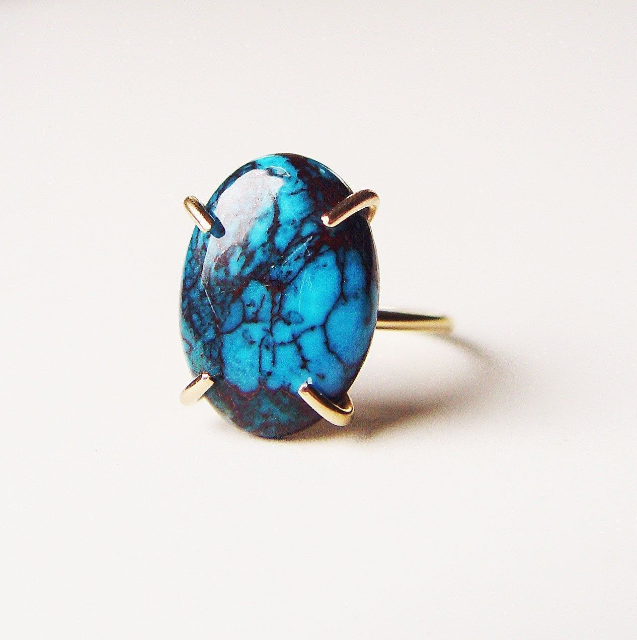Teal Turquoise Gold Statement Ring OOAK Gold statement