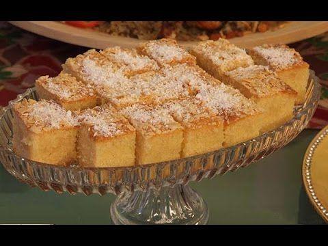 طريقة تحضير البسبوسة بالقشطة دون بيض Basbousa With Cream Without Eggs Desserts Recipes Food