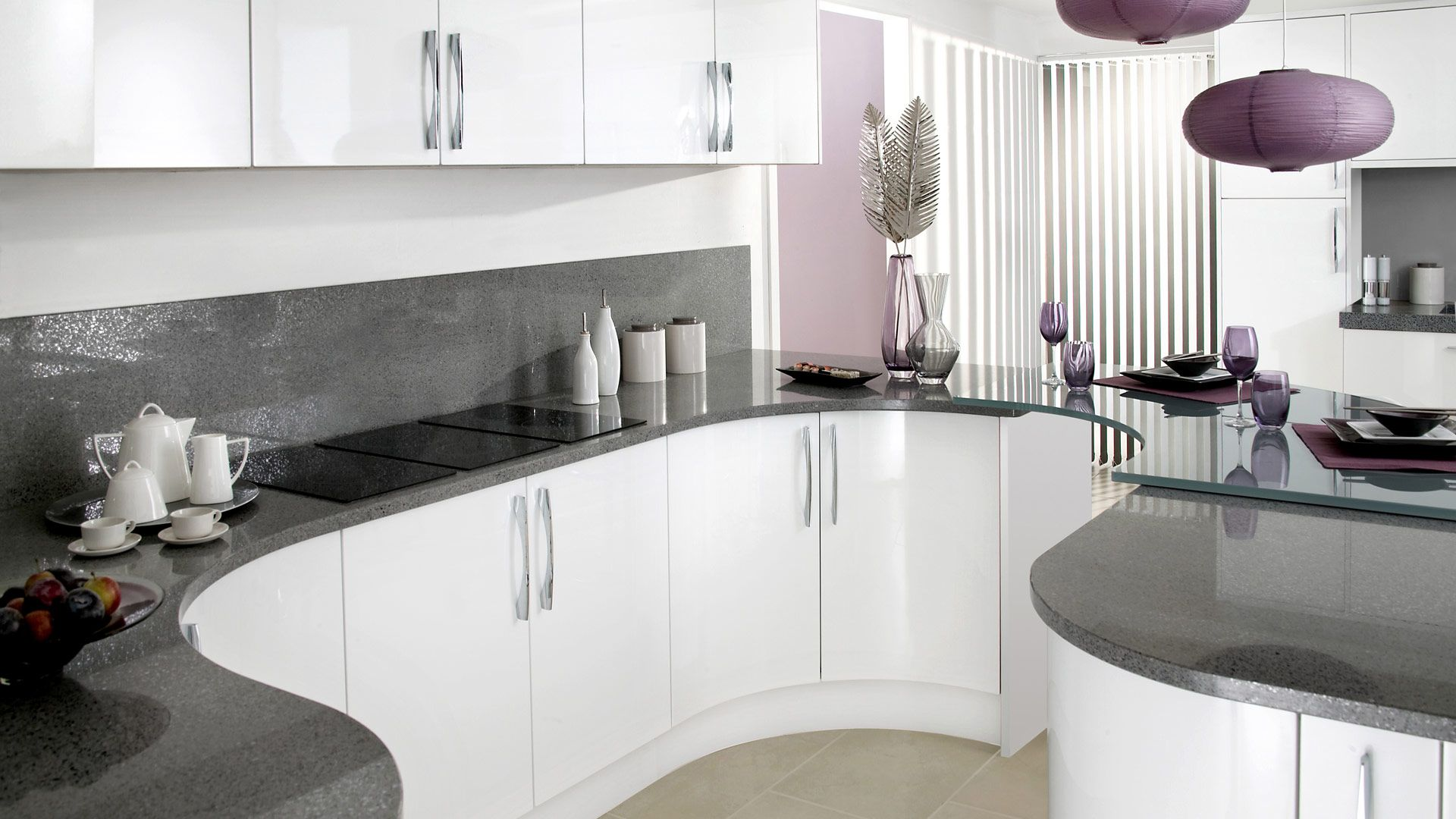white gloss kitchen grey worktop Google Search Curved