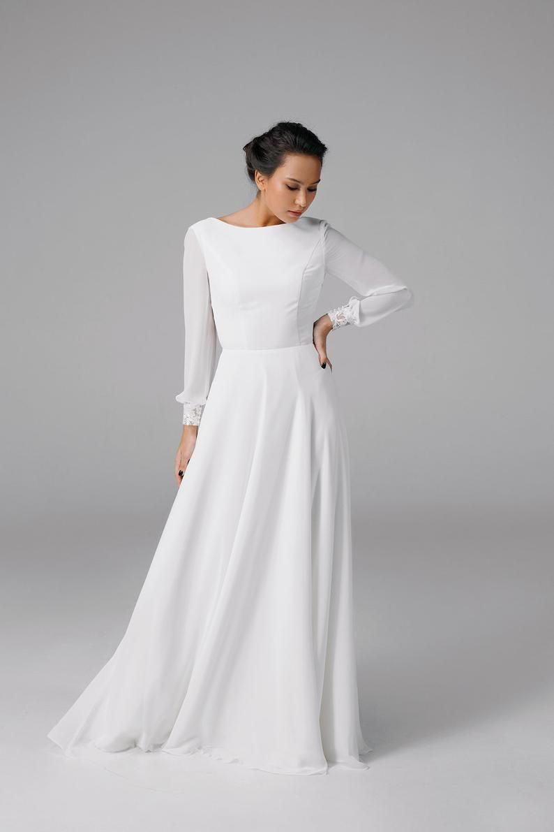 Bohemian Wedding Dress Simple Long Sleeve Wedding Dress Etsy In 2021 Long Sleeve Wedding Dress Simple Etsy Wedding Dress Ceremony Dresses [ 1191 x 794 Pixel ]