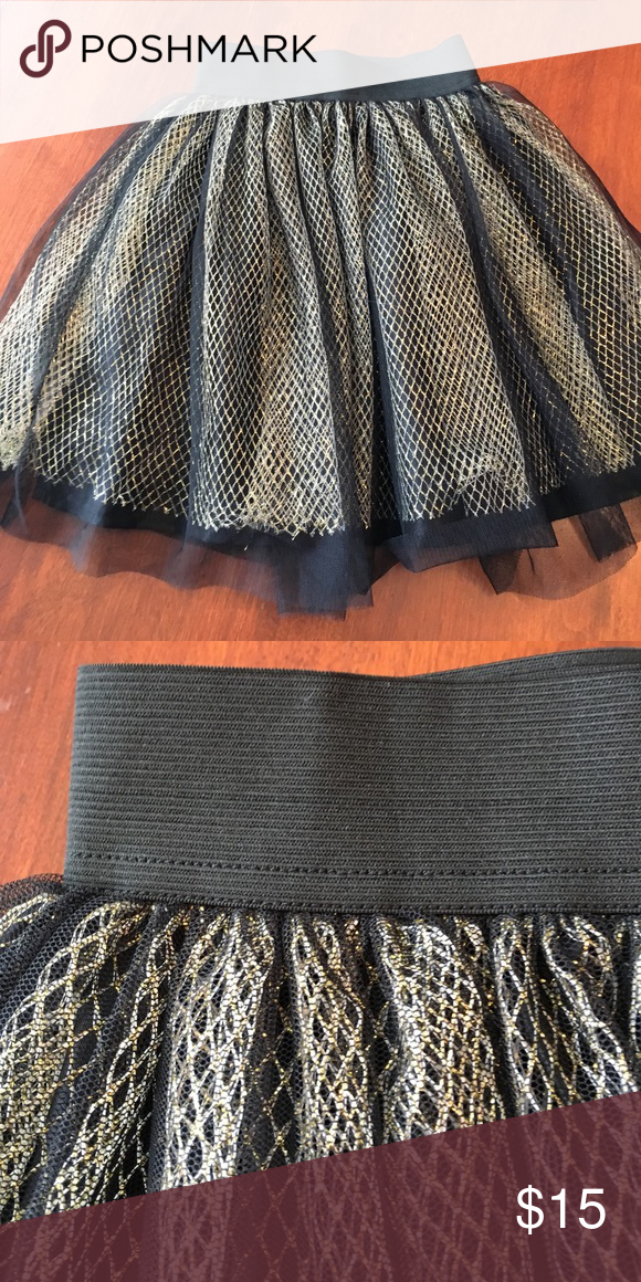 Doesn't fit my little one Fun metallic and black elastic waist skirt rumm Bottoms Skirts