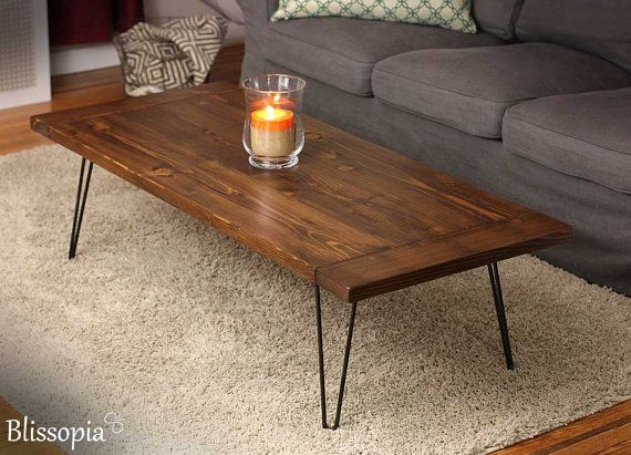 Planked Farmhouse Top Coffee Table With Hairpin Legs Coffee Table Diy Coffee Table Custom Coffee Table
