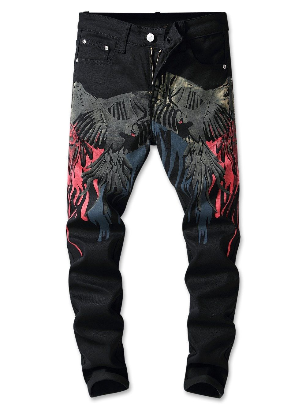0f7e17c69d Flying Hawk Print Zip Fly Jeans - BLACK 32 | SAJ in 2019 | Trouser ...