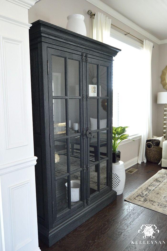 Black Restoration Hardware French Casement Double Door Cabinet