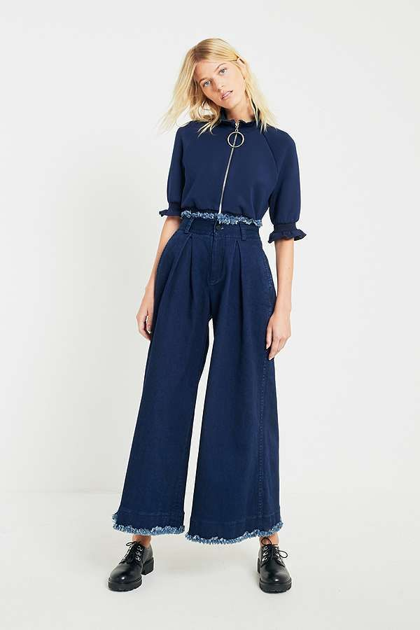 Angel Chen Washed Navy Pleated Wide Leg Trousers
