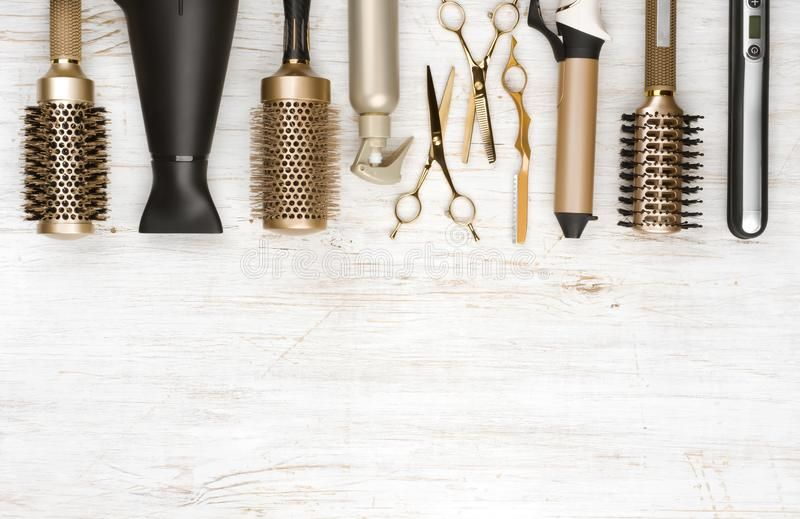 Professional Hair Dresser Tools On Wooden Background With Copy Space Sponsored Dresser Too In 2020 Professional Hairstyles Professional Hair Tools Hair Dresser