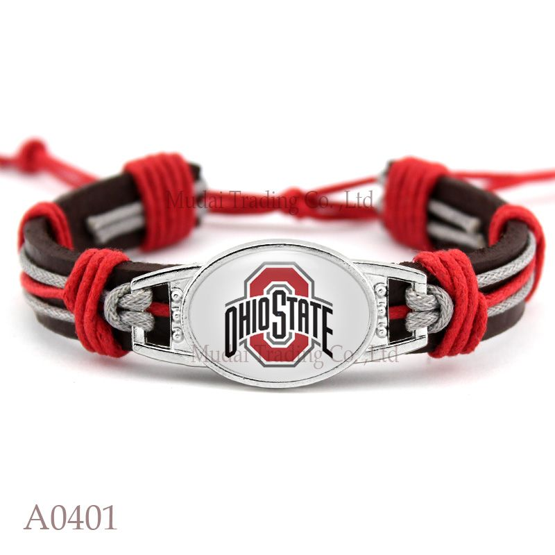 10 Pcs Lot Adjule Ohio State Buckeyes Leather Cuff Bracelet For Men Women