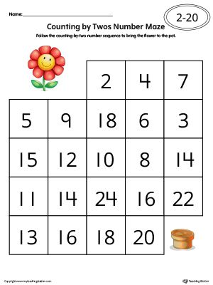 Counting By Twos Number Maze Worksheet In Color With Images