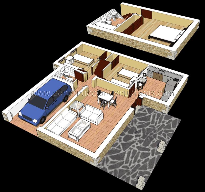 3d de distribuci n interior de casa r stica de piedra de for Distribucion de casas modernas de una planta