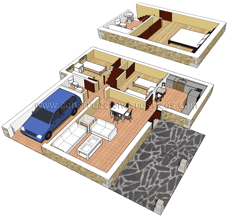3d de distribuci n interior de casa r stica de piedra de for Planos de casas de campo rusticas