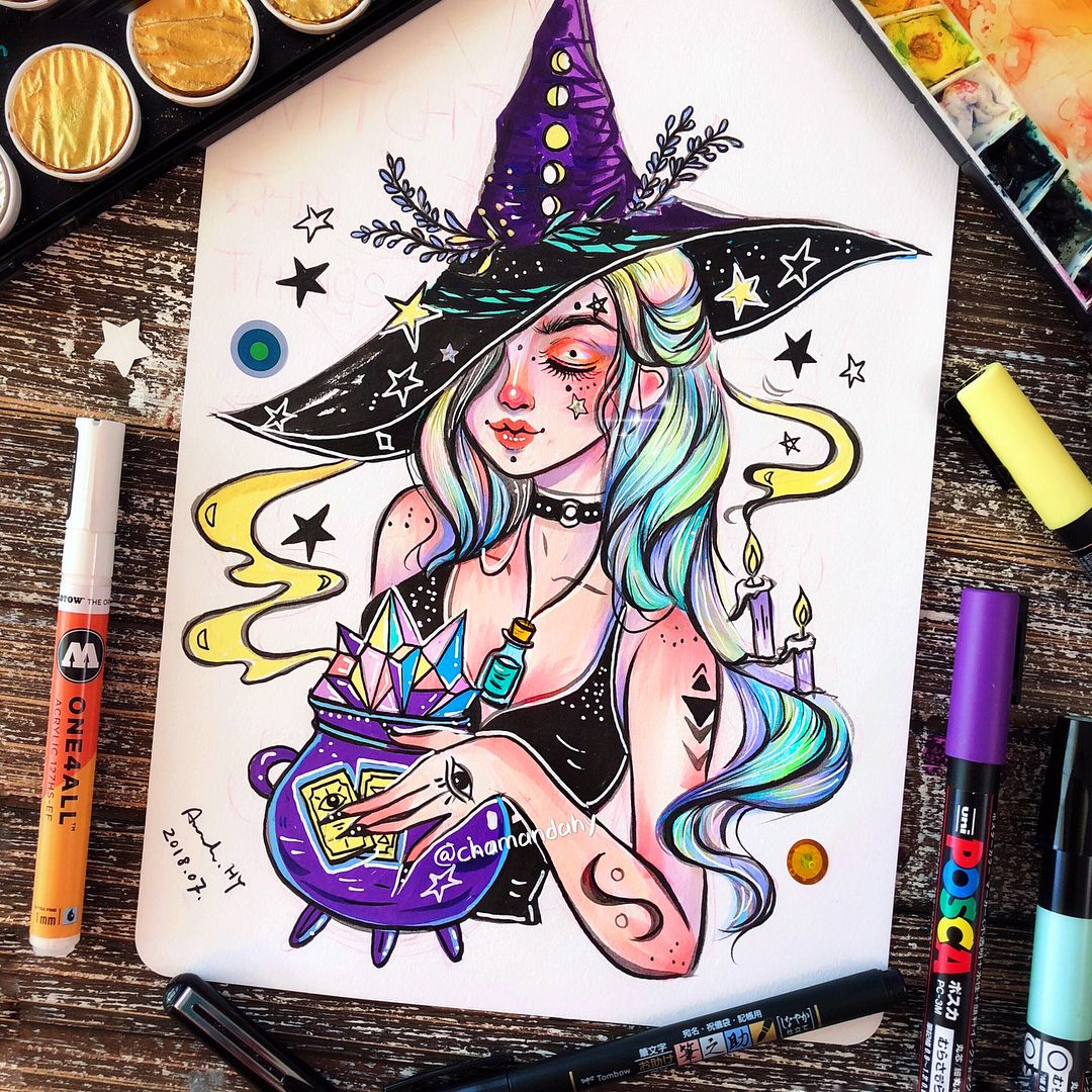 "@chamandahy on Instagram: ""🌙🔮Logo design I did for @witchythingsla 🔮🌙 ✨✨✨✨✨✨✨✨✨✨✨✨✨✨✨✨✨✨✨✨✨✨✨✨✨✨✨✨✨ ✨ #dailyillustration #copicmarkers #witchdrawing #witchyvibes…"""