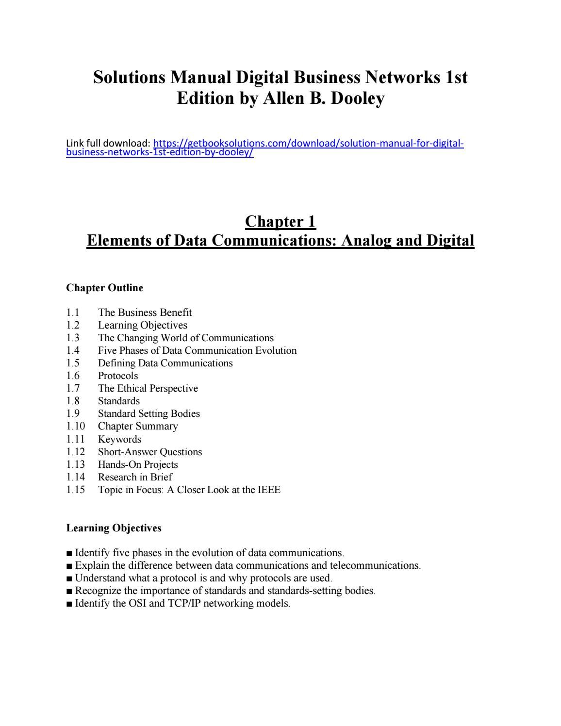 Solutions manual digital business networks 1st edition allen dooley