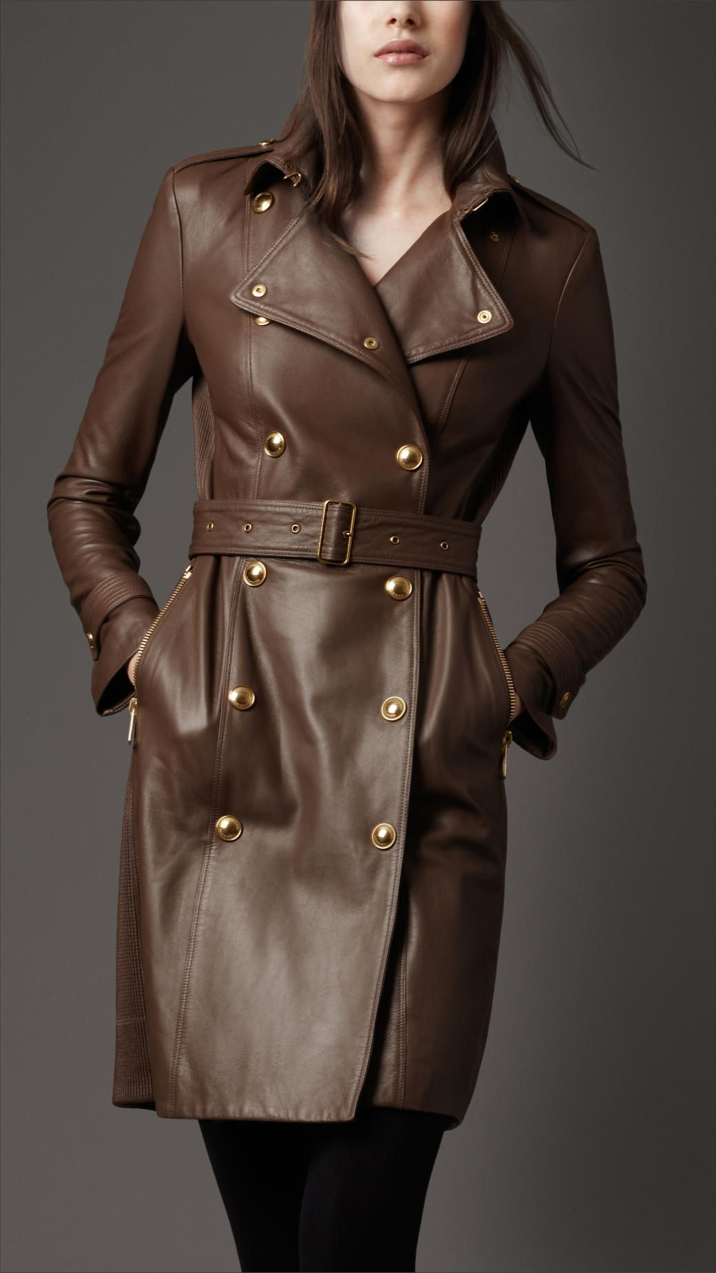 Vintage Dark Brown Trench Coat Faux Leather Coat Womens PVC