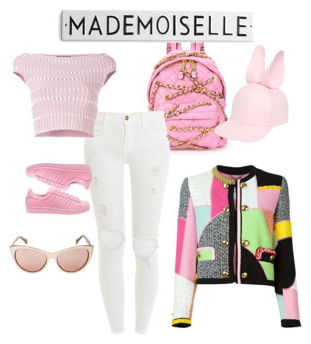 """Mademoiselle look <3"" by itscamipadilla on Polyvore featuring Moschino, Frame Denim, Alexander McQueen, adidas, Francesco Ballestrazzi, BCBGMAXAZRIA, women's clothing, women, female and woman"
