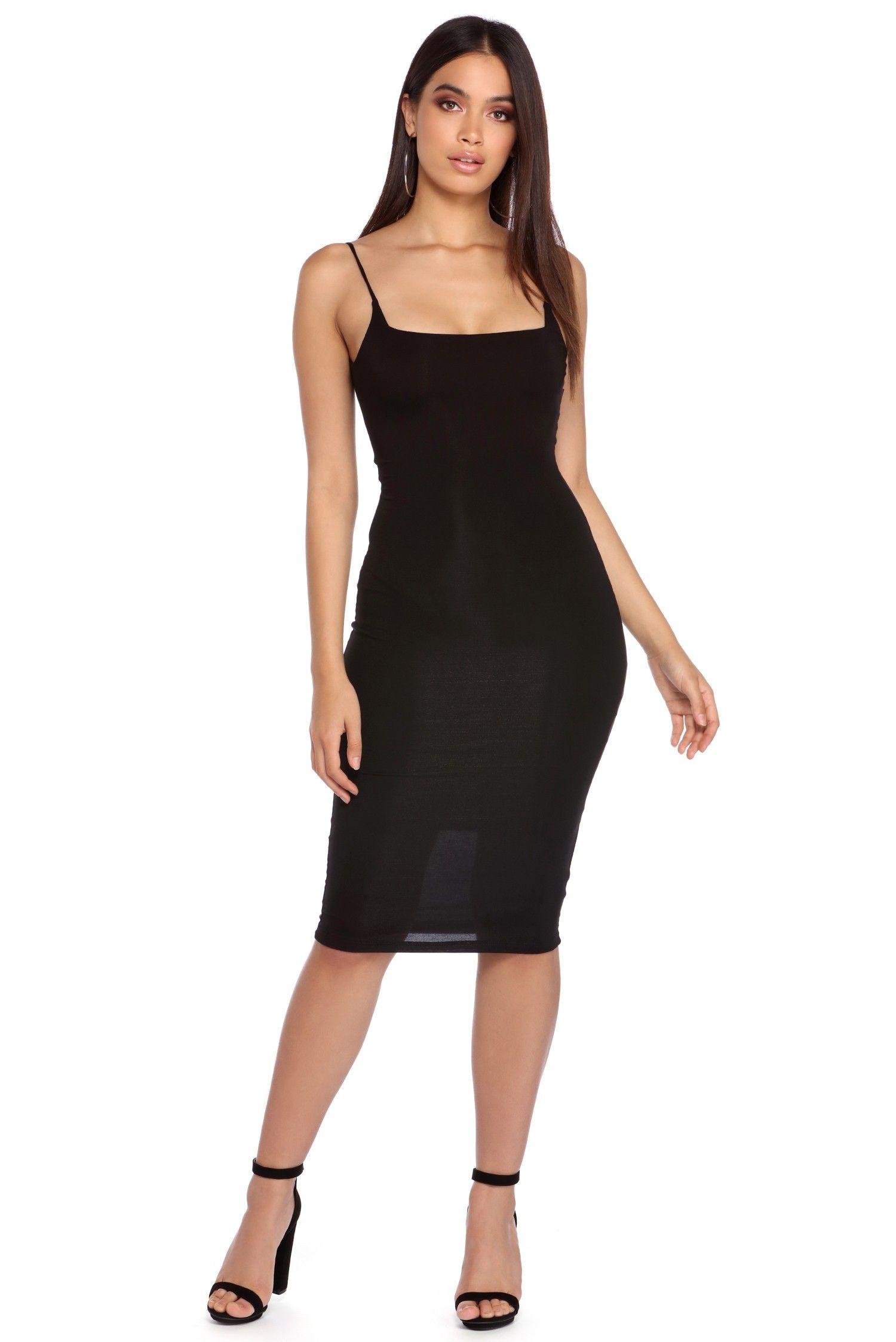 Black Straight Edge Midi Dress Dresses Midi Dress Fashion [ 2247 x 1500 Pixel ]