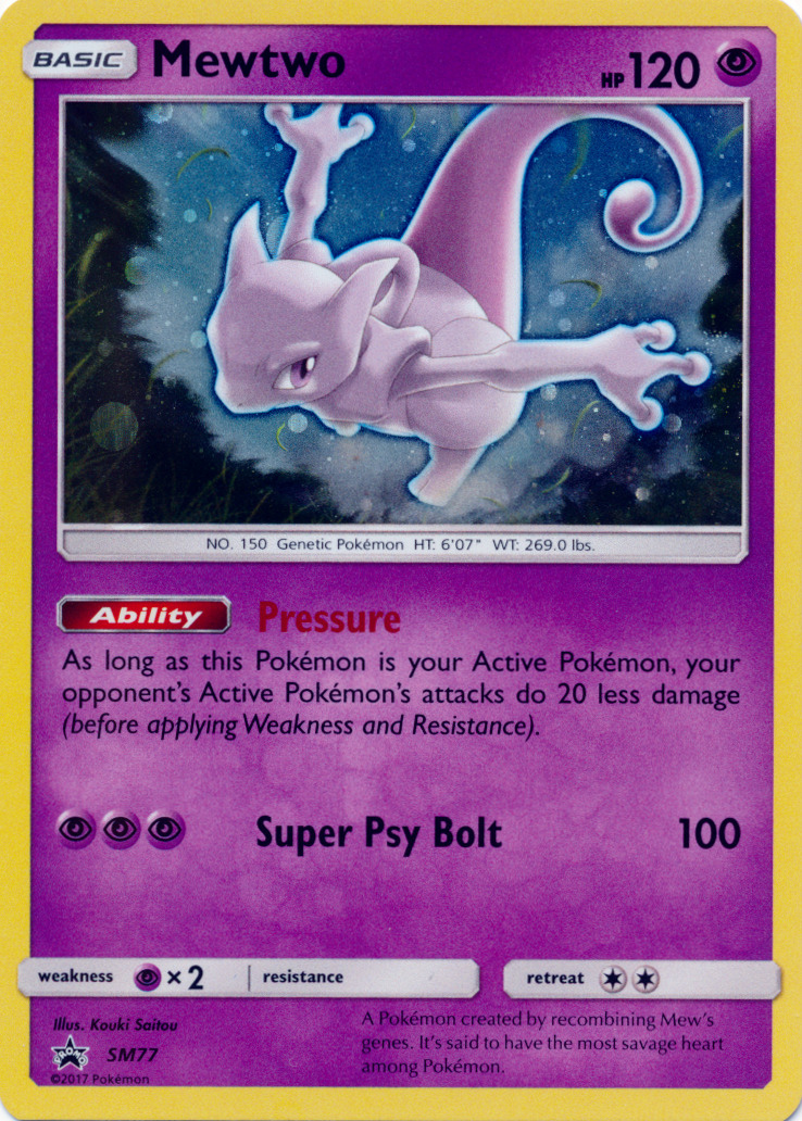 $0.99 - Holo Foil Mewtwo Sm77 -Black Star Promo Card - Shining Legends - Pokemon Tcg #ebay #Collectibles
