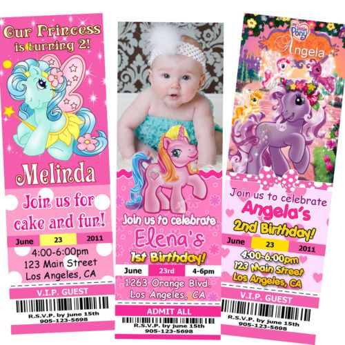 MY LITTLE PONY TICKET BIRTHDAY PARTY INVITATIONS