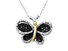 1/6 ct Black and White Diamond Butterfly pendant in sterling Silver and 14k Gold,$99