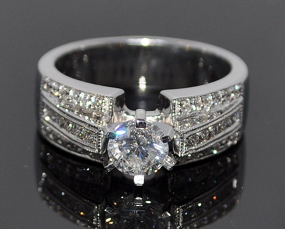 Wedding Ring Diamond 1.2ct 14K White Gold 0.67ct Solitaire Comfort ...