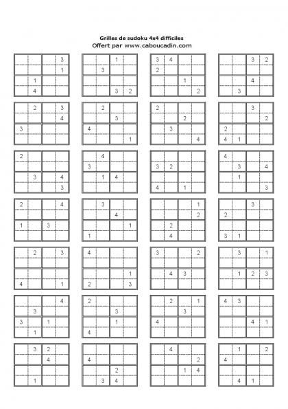 Grille 4x4 niveau difficile page 6 sudoku pinterest - Plusieurs grilles de sudoku a imprimer ...