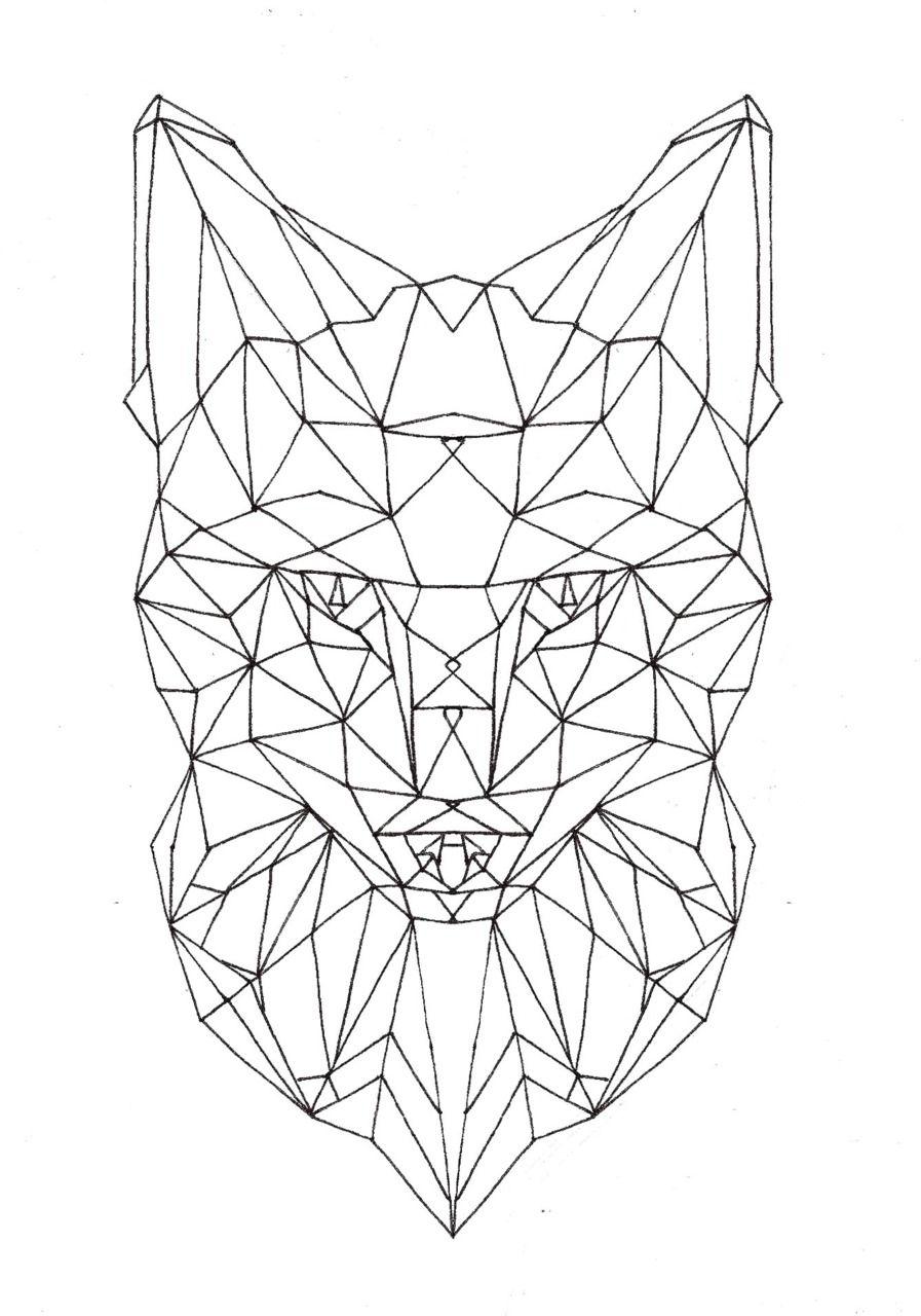 Stephscarborough geometric fox face unfinished idea tattoo pinterest - Geometrische wandbilder ...