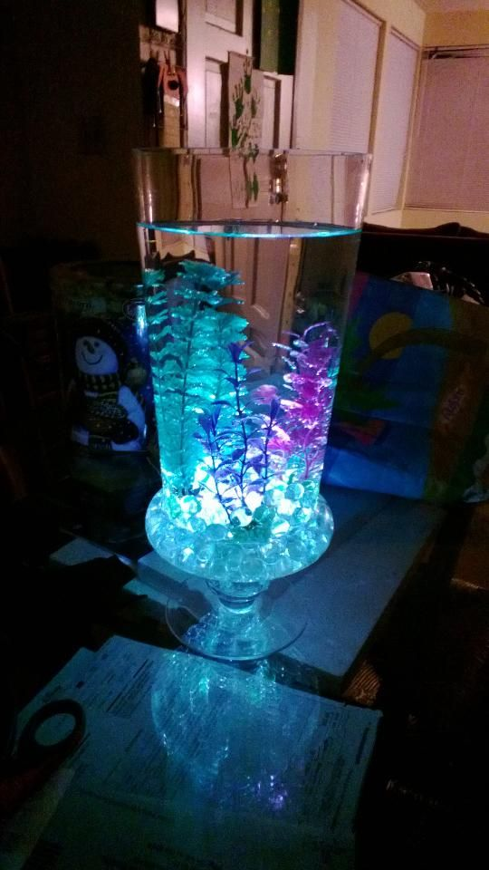 5 To 10 Dollar Glass Vase From Walmart Stones And Glow Sticks From Dollar Store And Fish Tank Plan Sea Party Ideas Sea Birthday Party Under The Sea Decorations