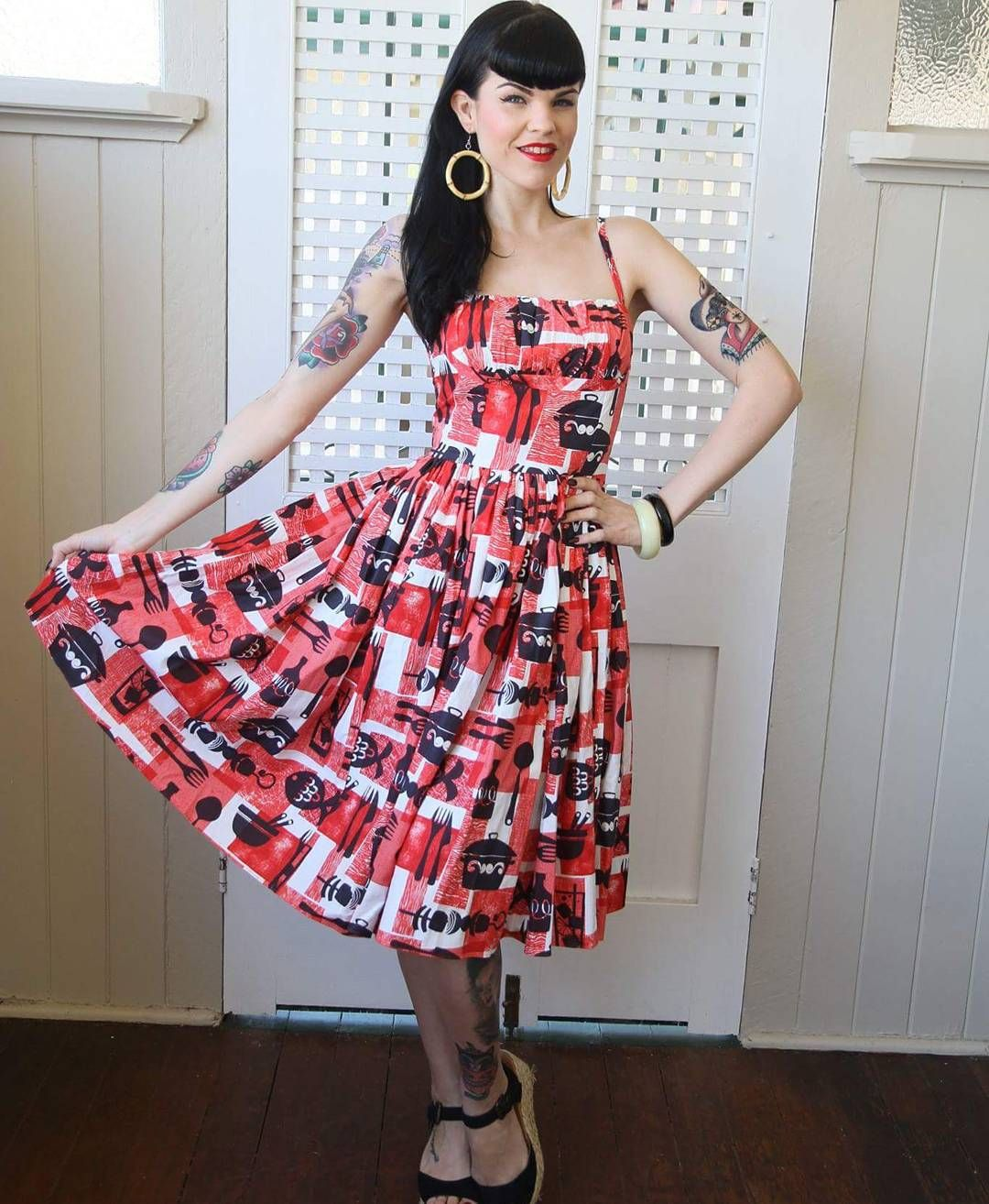 """""""And! This amazing @officialberniedexter dress was also part of my prize! Thank you @lovefromthatshop ! ❤ #berniedexter #pinup"""""""