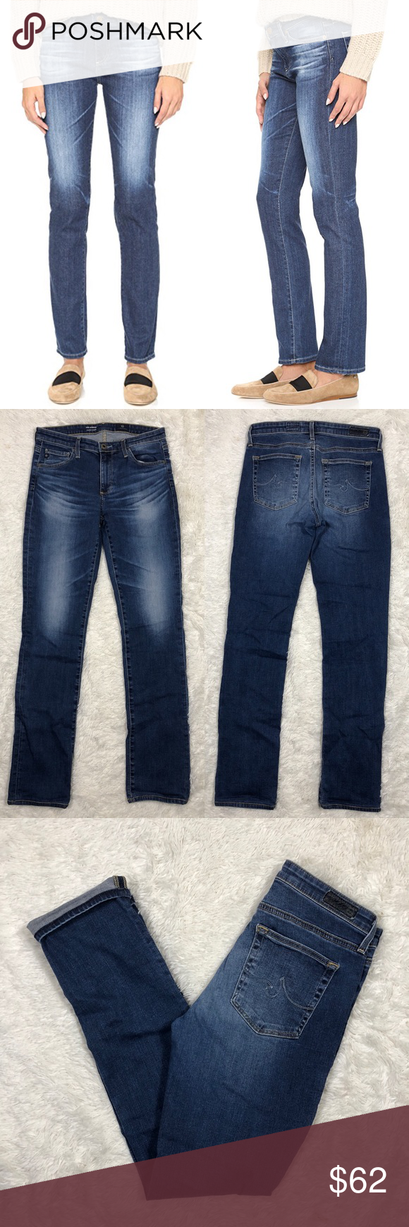 """3d4d3f00b856 AG The Harper Essential Straight Leg Jeans Sz 27 AG Adriano Goldschmied The Harper  Essential Straight Leg Jeans 5 Years Argent Waist  13"""" stretches to 15"""" ..."""